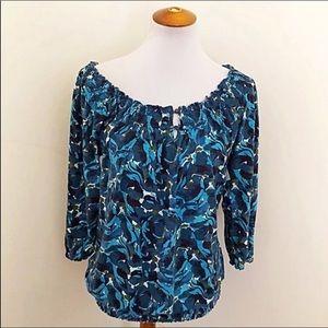 Lucky Brand boho printed smocked blouse L